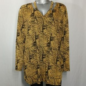 Attitudes Tunic Top Printed Cutout Long Sleeve 3X